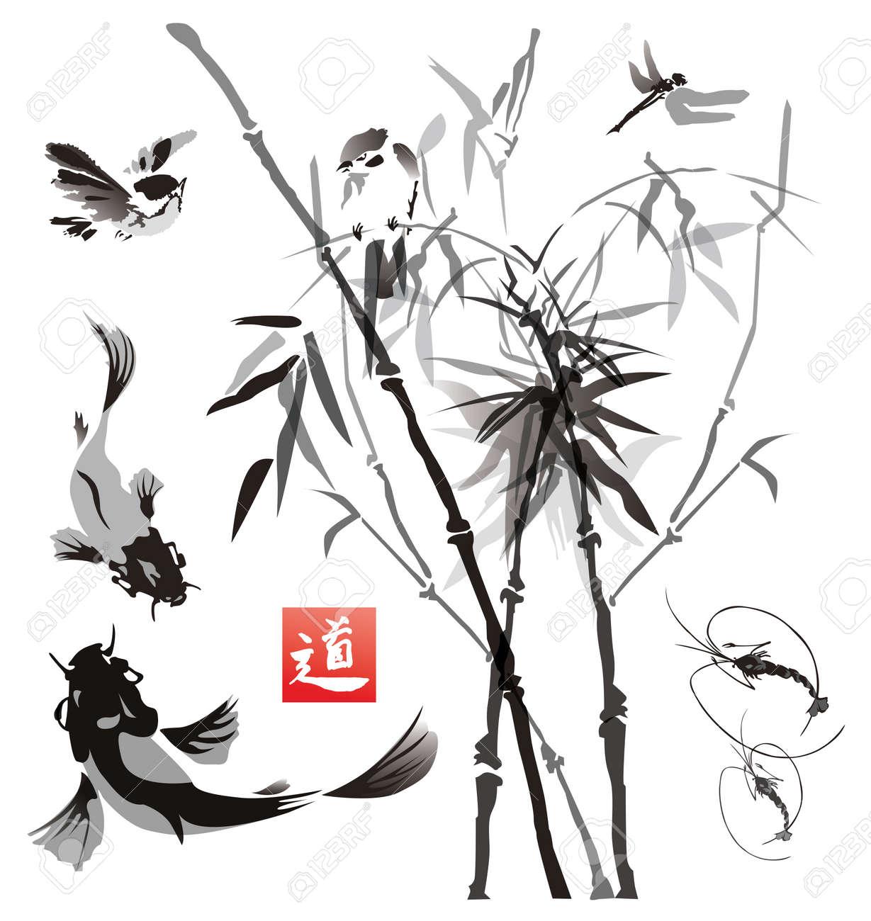 Plantillas Aves, Peces Y Plantas En La Ilustración Oriental Style ...