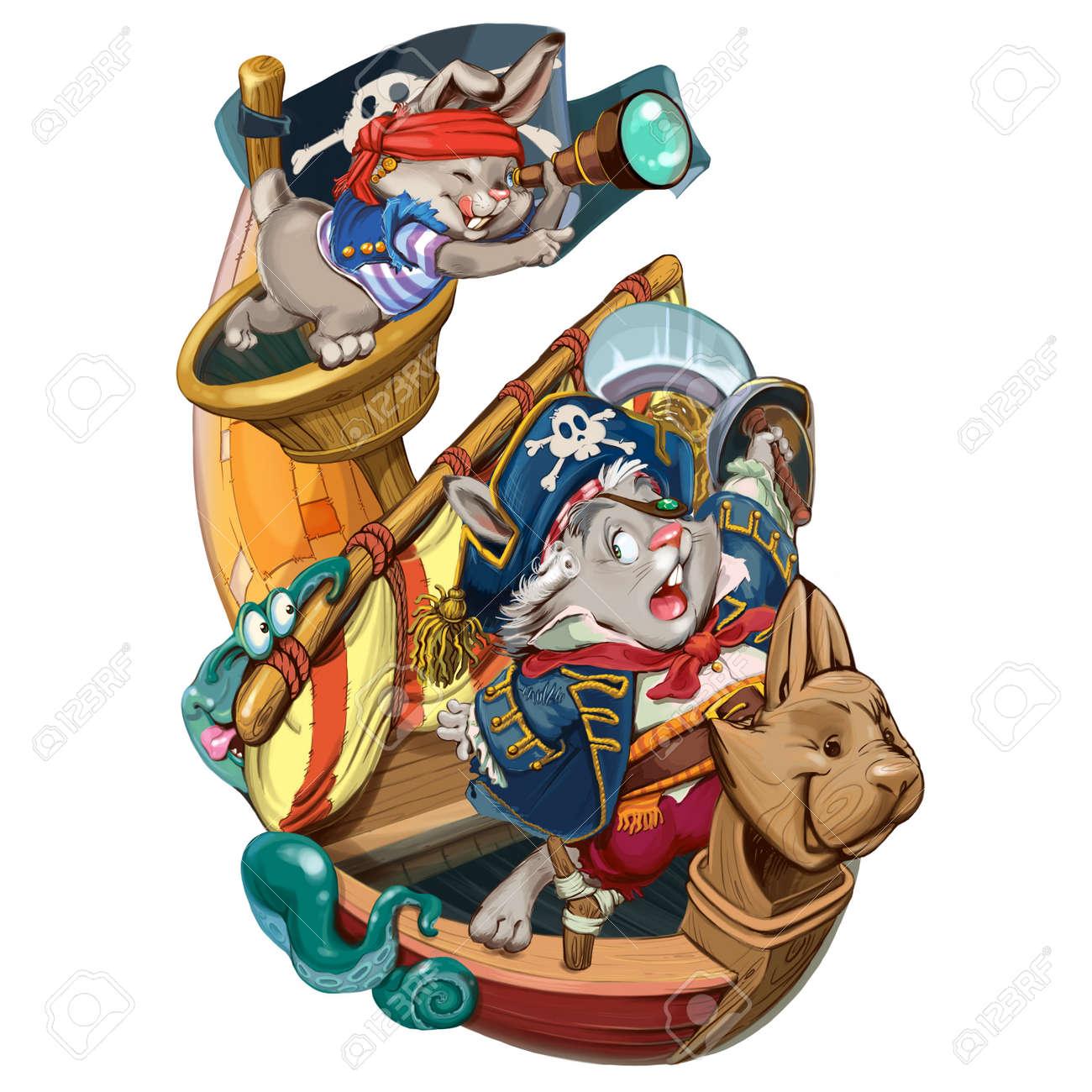 Cartoon Liebres Piratas Van A Atacar A La Nave Para Tomar La Producción Tarjeta De Invitación Para Una Fiesta O Un Cumpleaños Ilustración De La