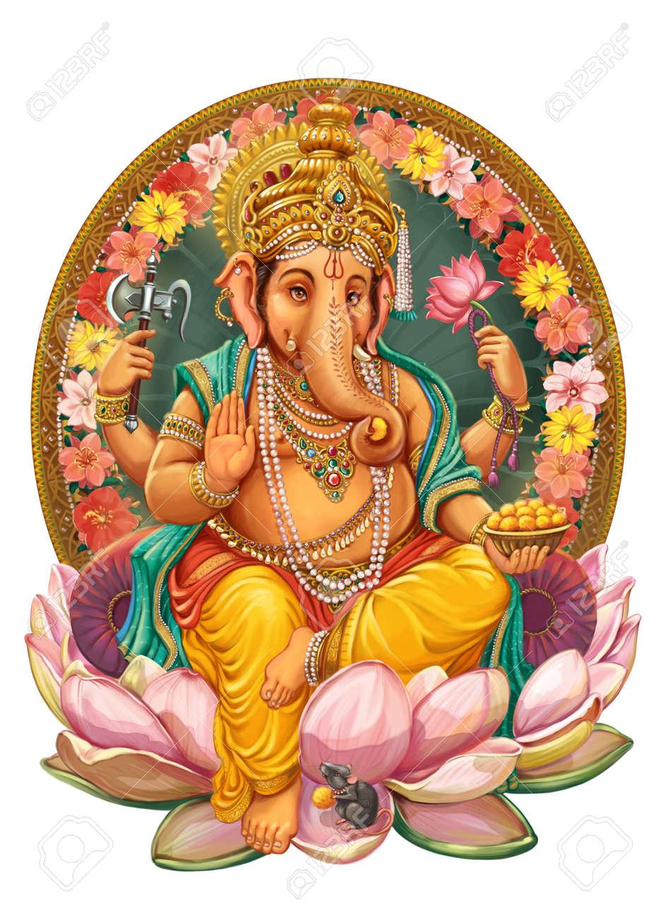 God Ganesha Invitation Cards Dawali Holiday Raster Illustration