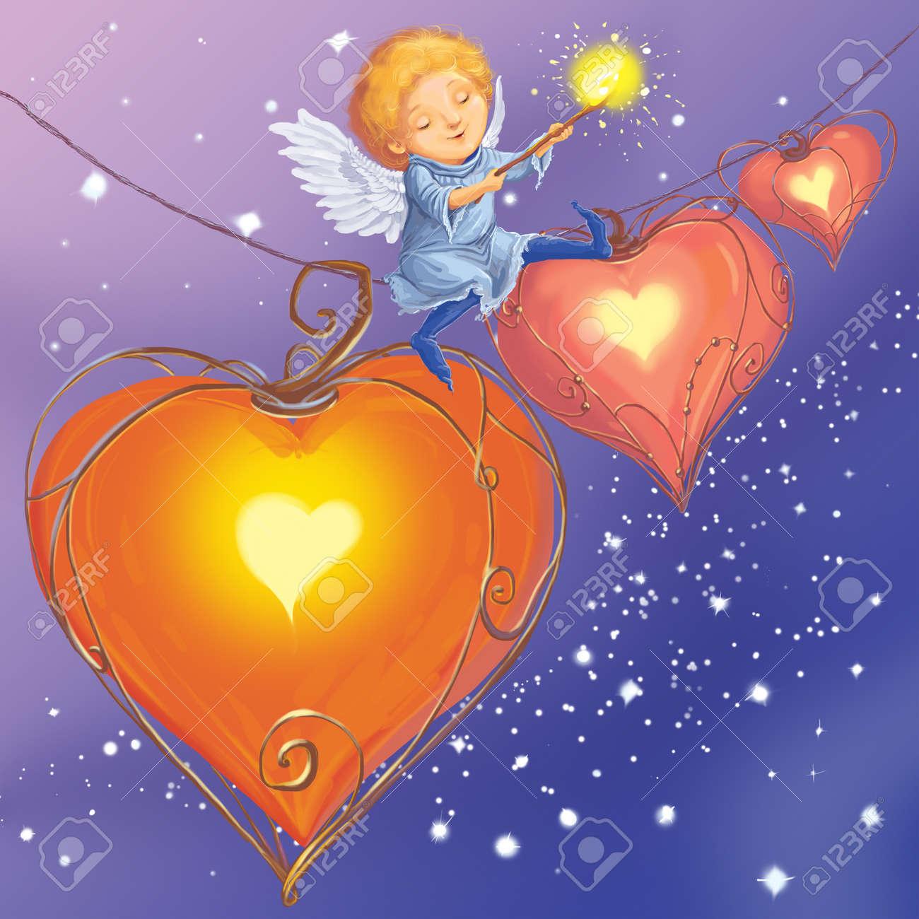 Engel Licht Herzen Liebe Gratuliert Mit Valentinstag. Fantastische  Cartoon Stil. Szene Tapete Hintergrund