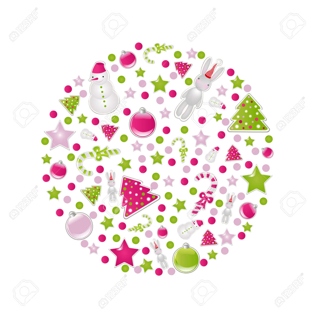 Ball Of Christmas Symbols And Elements, Isolated On White Background, Vector Illustration Stock Vector - 11309011
