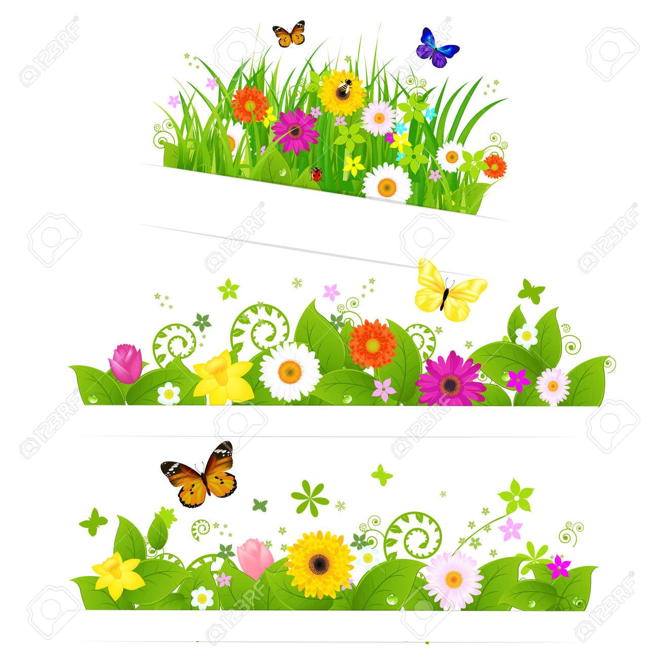 3 春の花の花束白の背景ベクトル イラスト上に分離されてのイラスト
