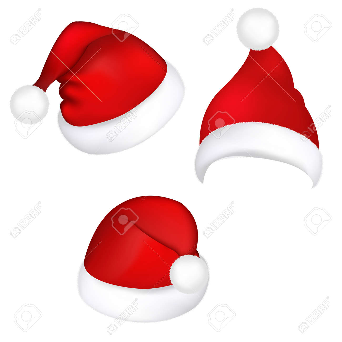 Three Santa Hats, Isolated On White Background, Vector Illustration Stock Vector - 11309020