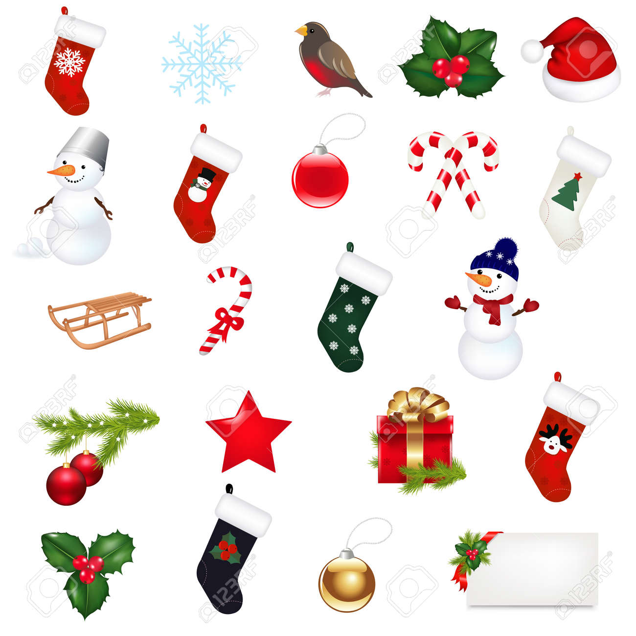 Big Christmas Icons Set, Isolated On White Background, Vector Illustration Stock Vector - 11561520