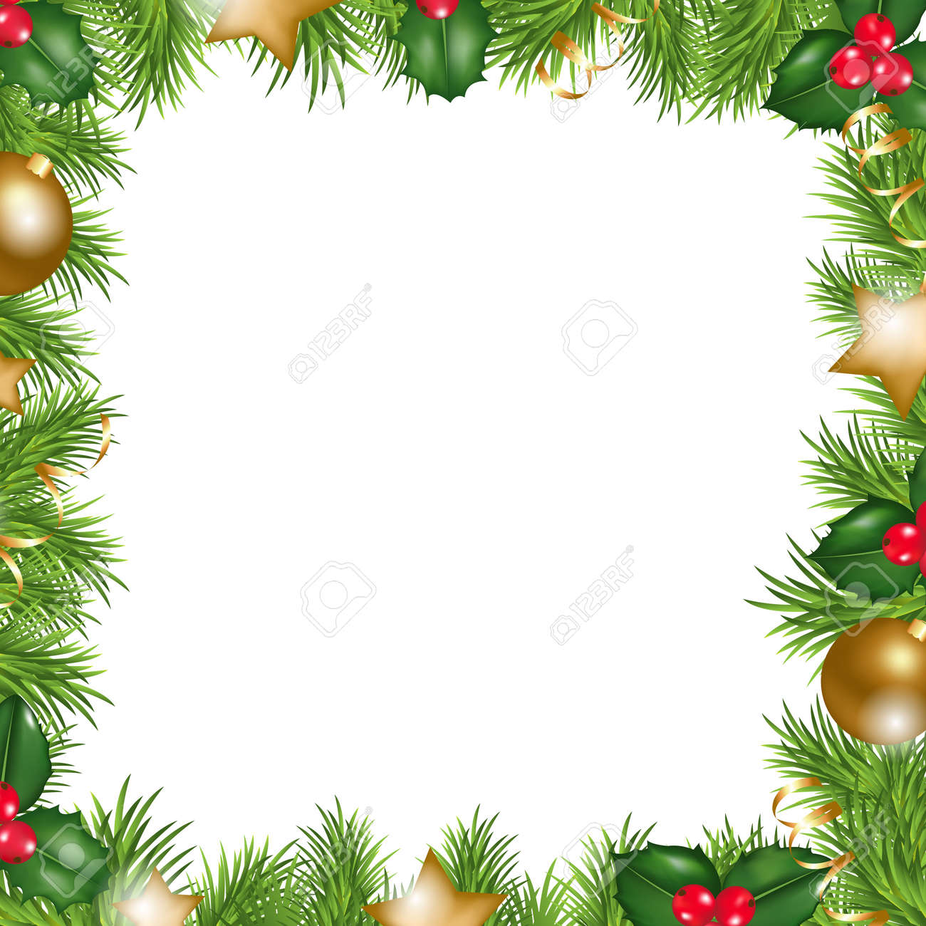 Merry Christmas Border, Isolated On White Background, Vector ...