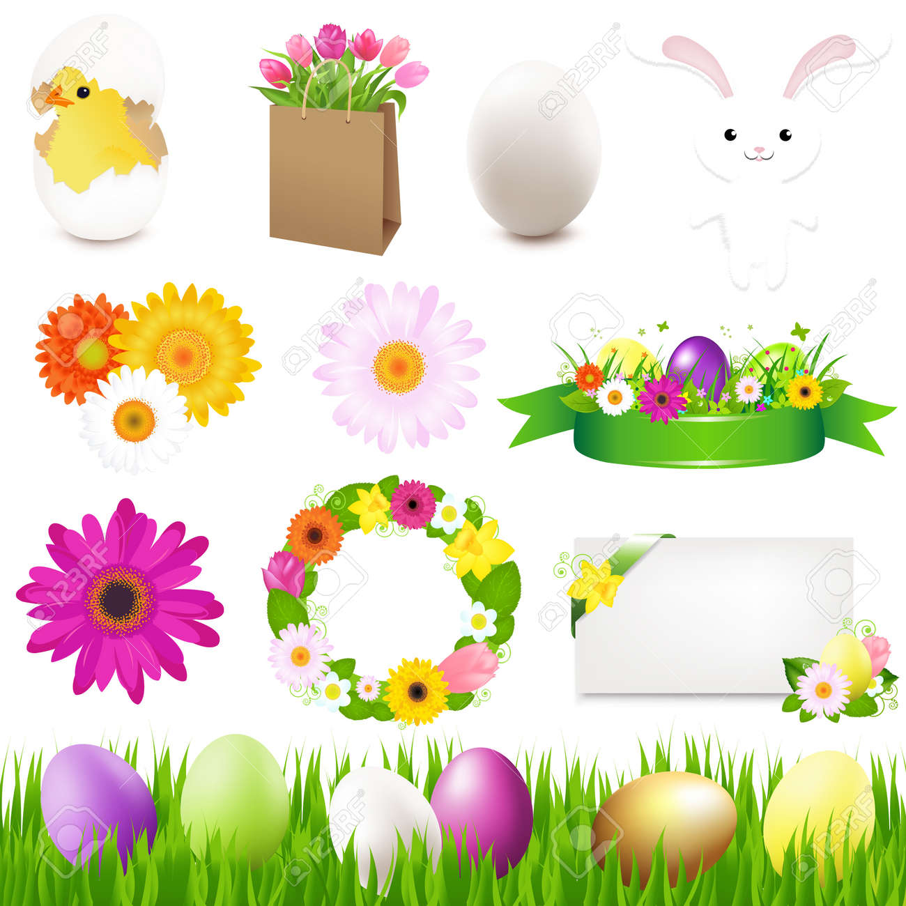 Happy Easter Icons And Green Grass, Vector Illustration Stock Illustration - 12006546