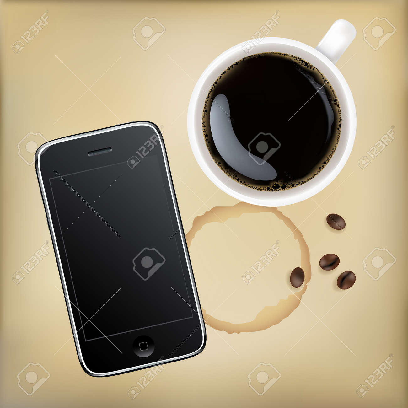 Mobile Phone With Cup Of Coffee, Vector Illustration Stock Vector - 14499516