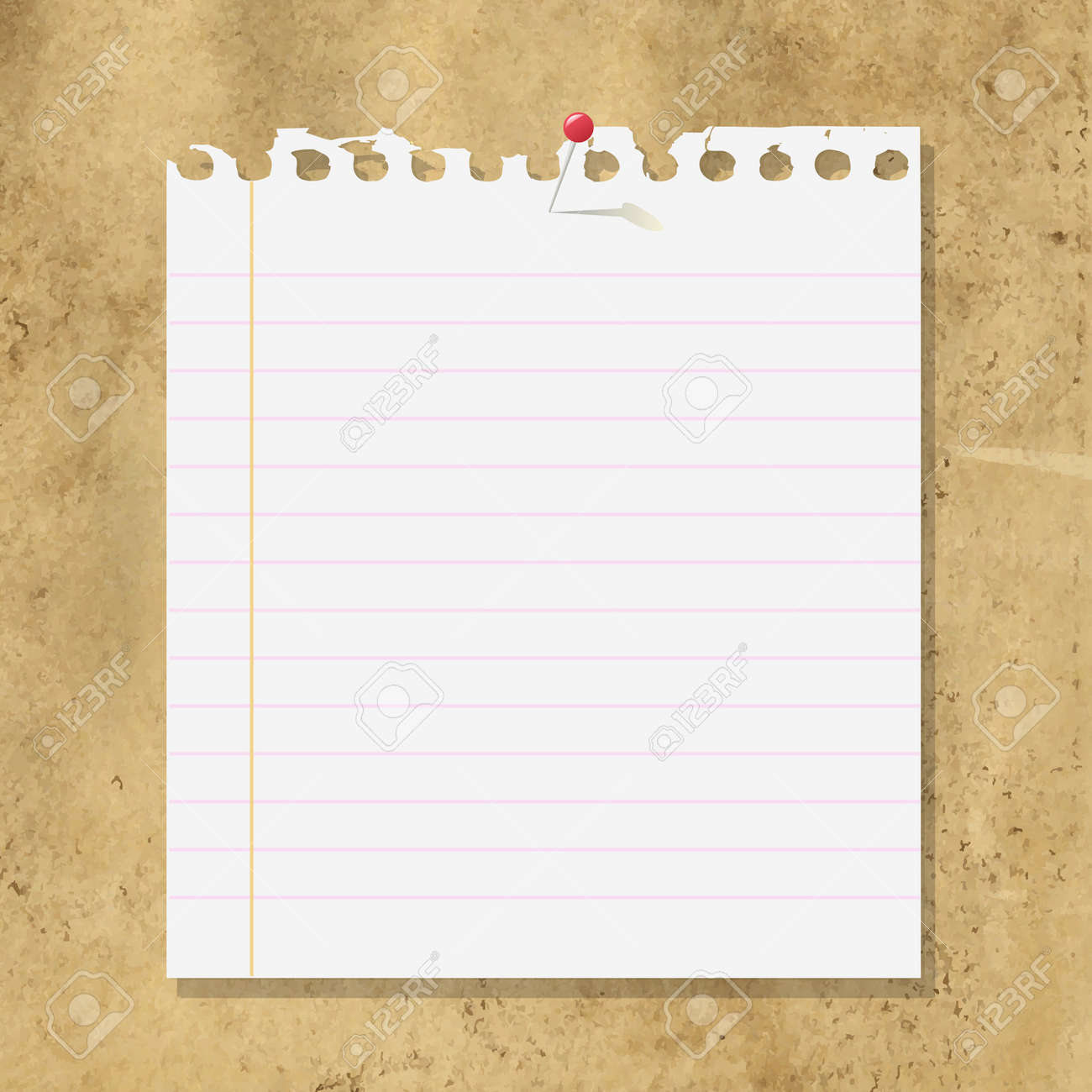 Beautiful Blank Note Paper On Cardboard Background, Vector Illustration Stock Vector    15155476 Intended Blank Paper Background