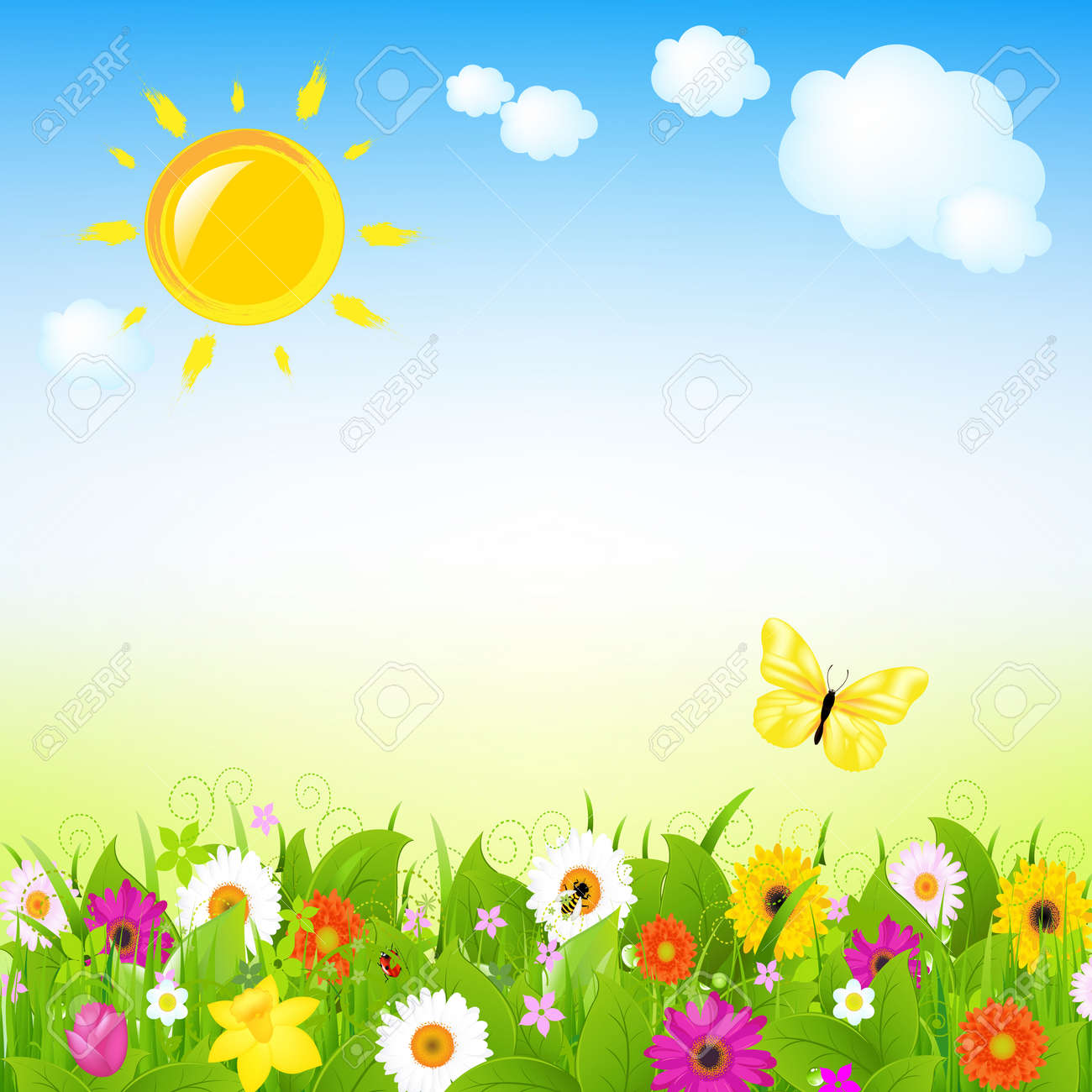 Sun And Flowers With Cloud,  Illustration Stock Vector - 15586091
