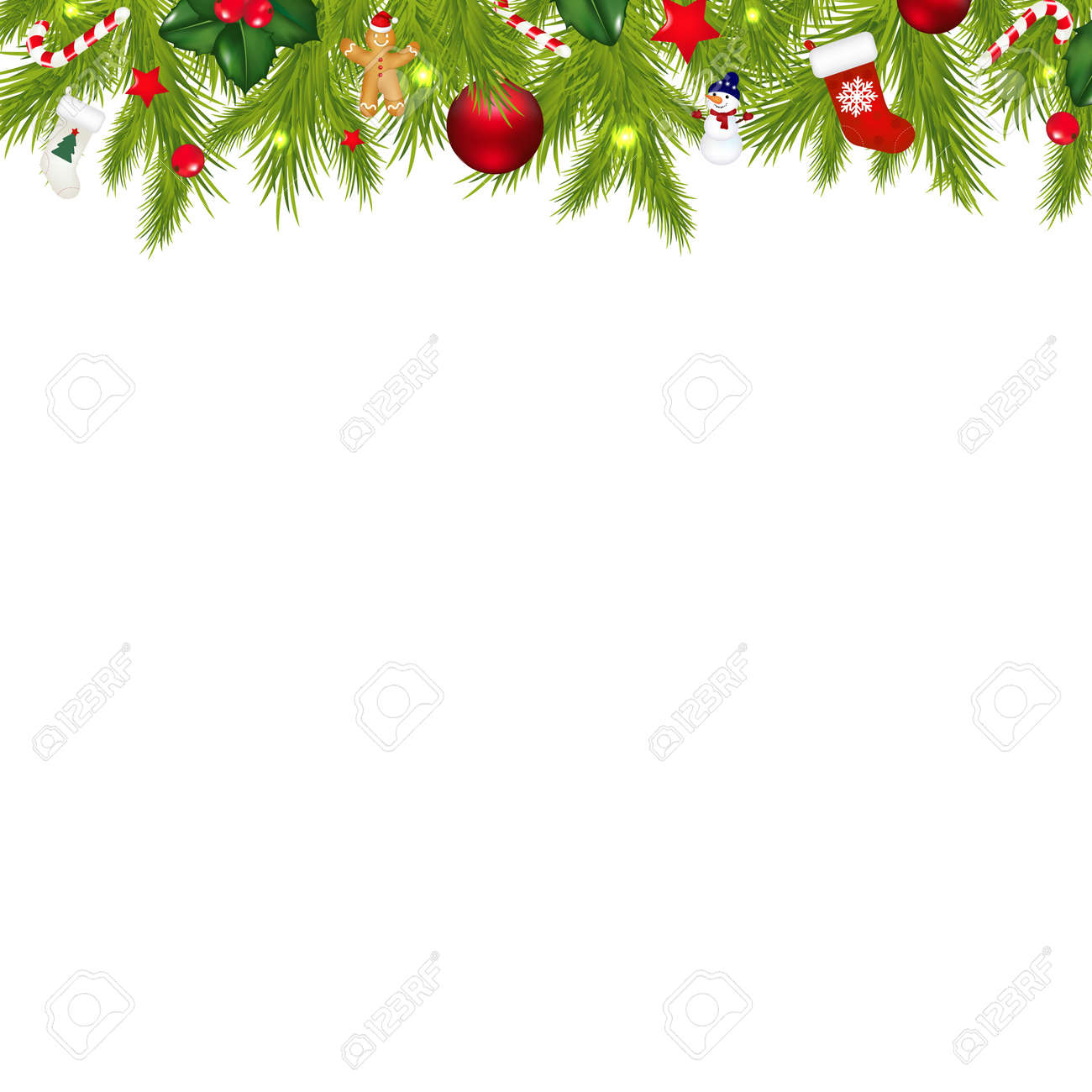 Christmas Border With Xmas Garland Isolated On White Background Gradient Mesh Stock Vector