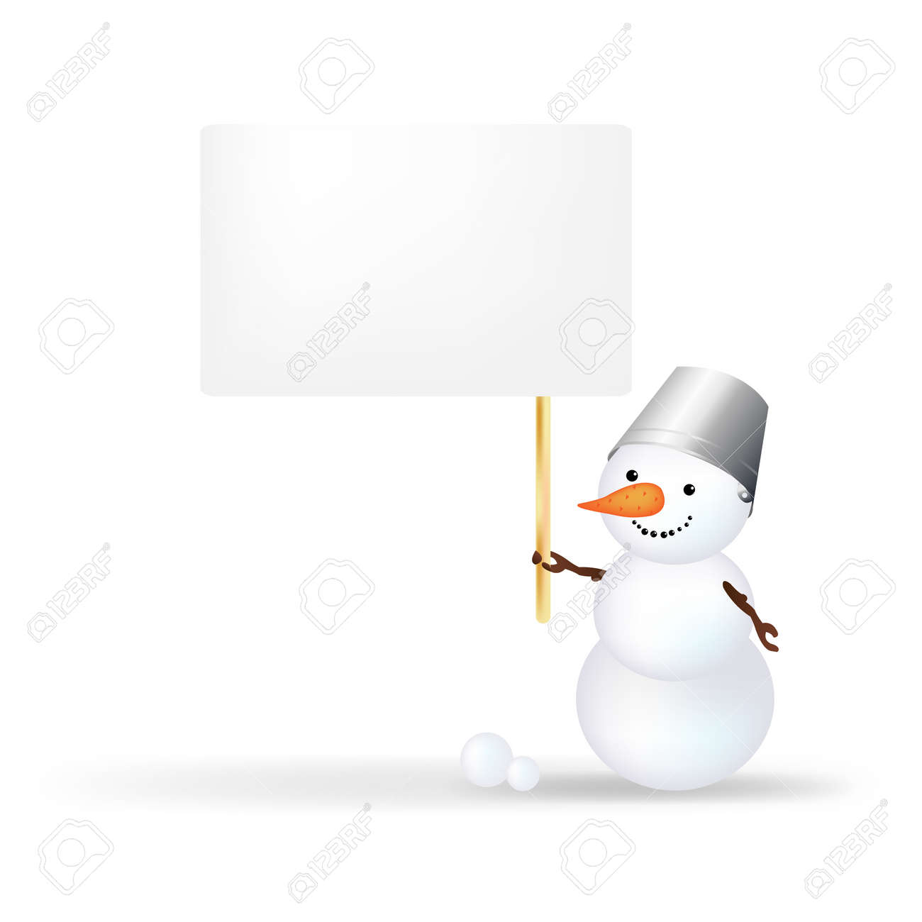 Christmas Snowman With Announcement, Isolated On White Background With Gradient Mesh Stock Vector - 16815872