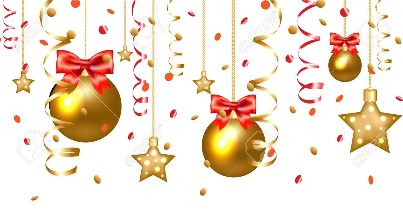 navidad estrellas y bolas de navidad frontera aislado sobre fondo blanco con malla de degradado