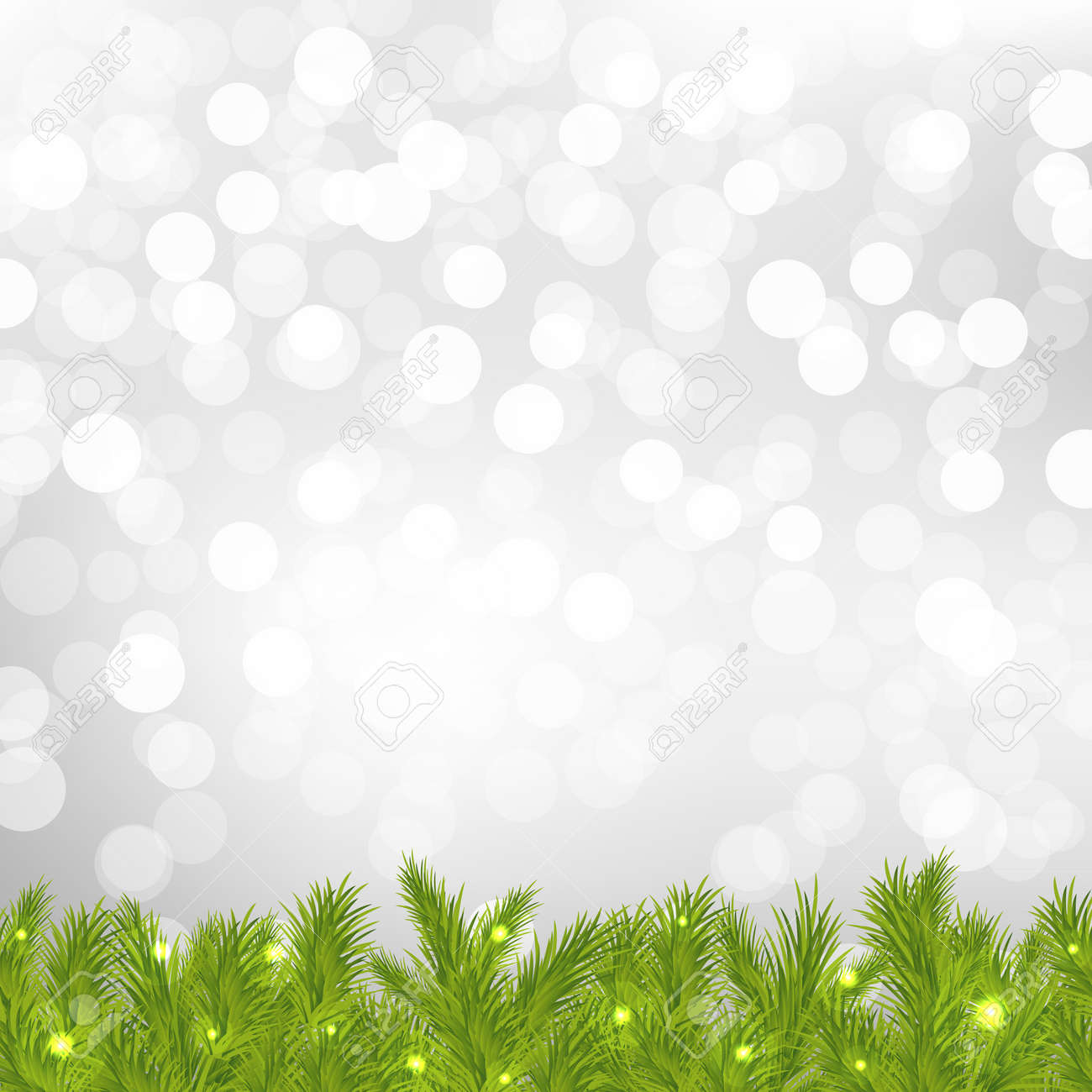 FirTree With Silver Bokeh With Gradient Mesh, Vector Illustration Stock Vector - 17315078