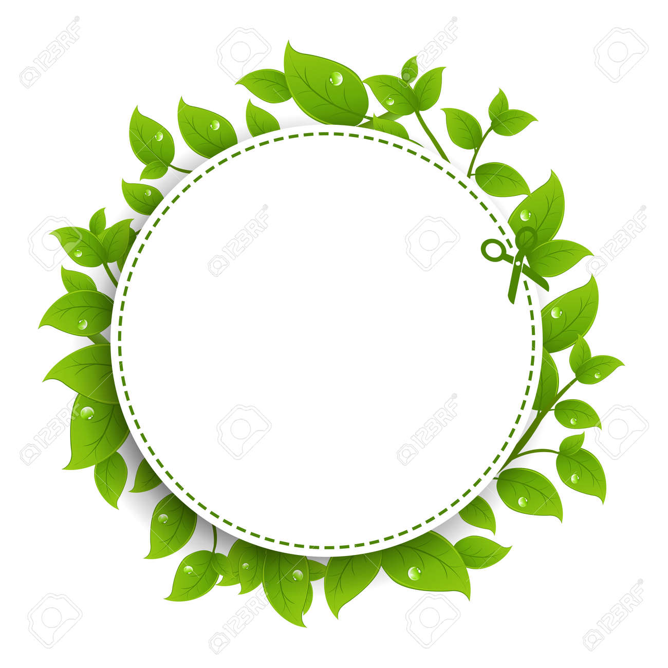 Announcement Coupon With Green Leaves With Gradient Mesh, Isolated On White Background, Vector Illustration Stock Vector - 17779038