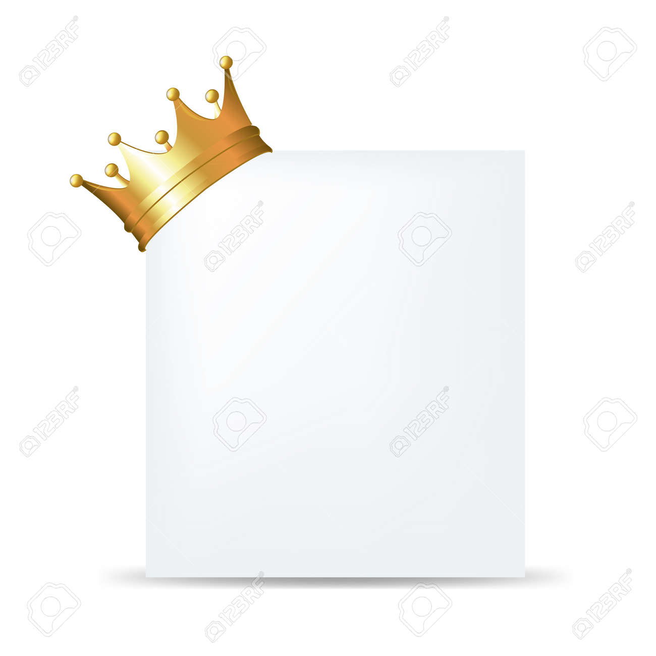Golden Crown On Blank Card With Gradient Mesh, Isolated On White Background, Vector Illustration - 18019313