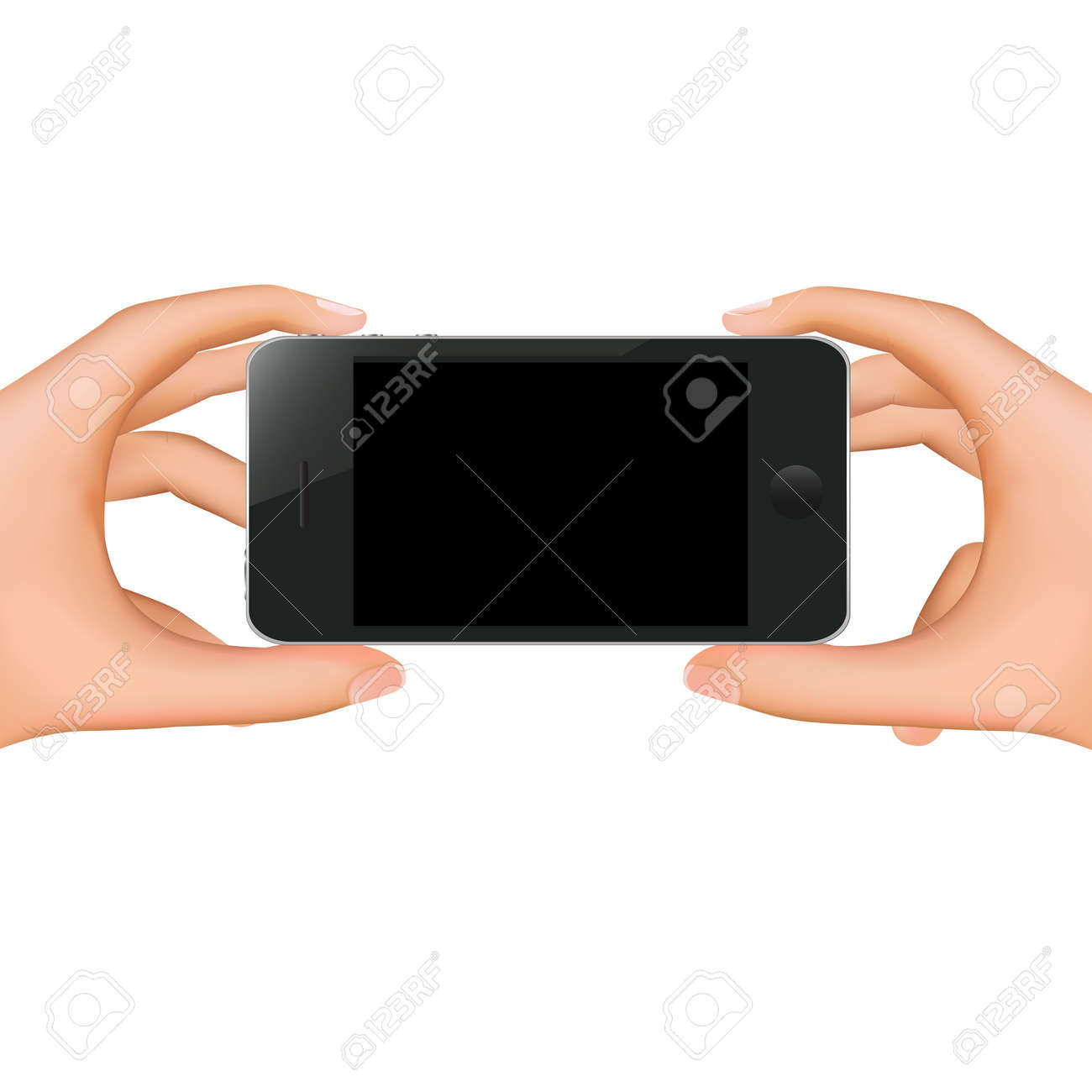 Hands Holding Phone With Gradient Mesh, Isolated On White Background, Vector Illustration Stock Vector - 18427760