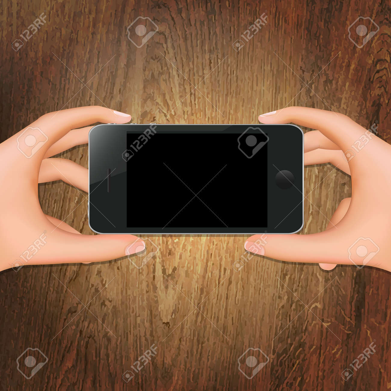 Wooden Background With Hands Holding Phone With Gradient Mesh, Isolated On White Background, Vector Illustration Stock Vector - 18427765