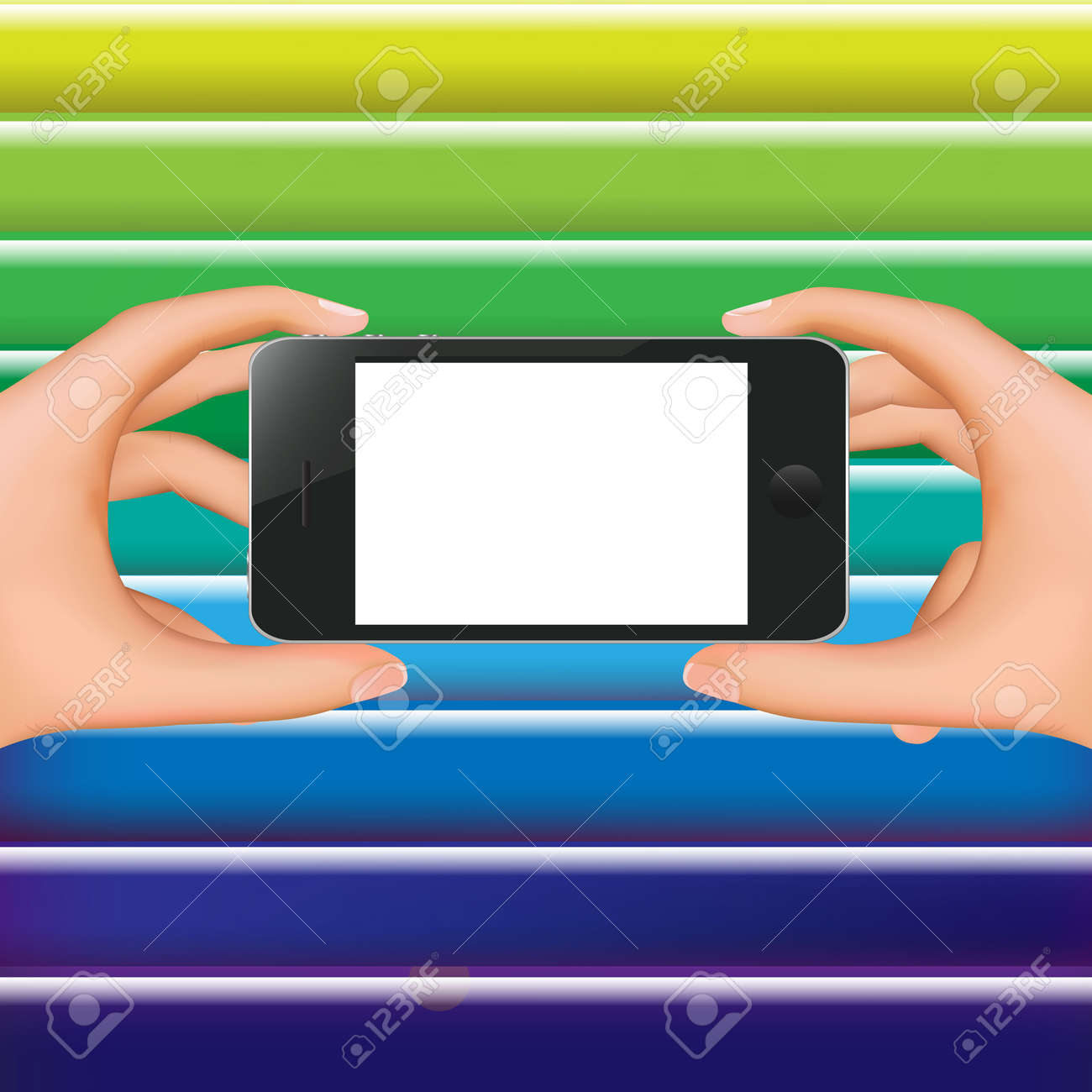 Hands Holding Phone And Colorful Background With Gradient Mesh, Illustration Stock Vector - 18544350
