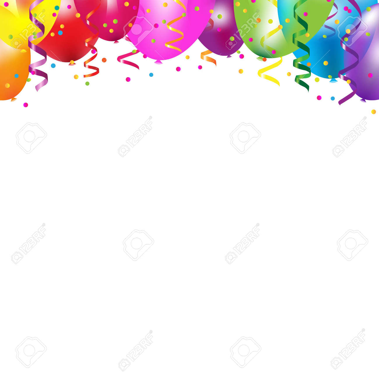 Frame With Colorful Balloons With Gradient Mesh, Vector Illustration - 21902880