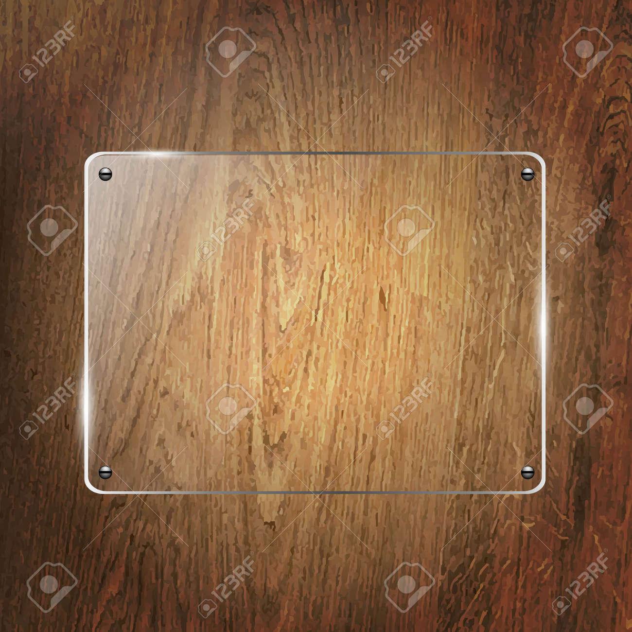 Glass Shelf On Wood Background, Vector Illustration - 21902882