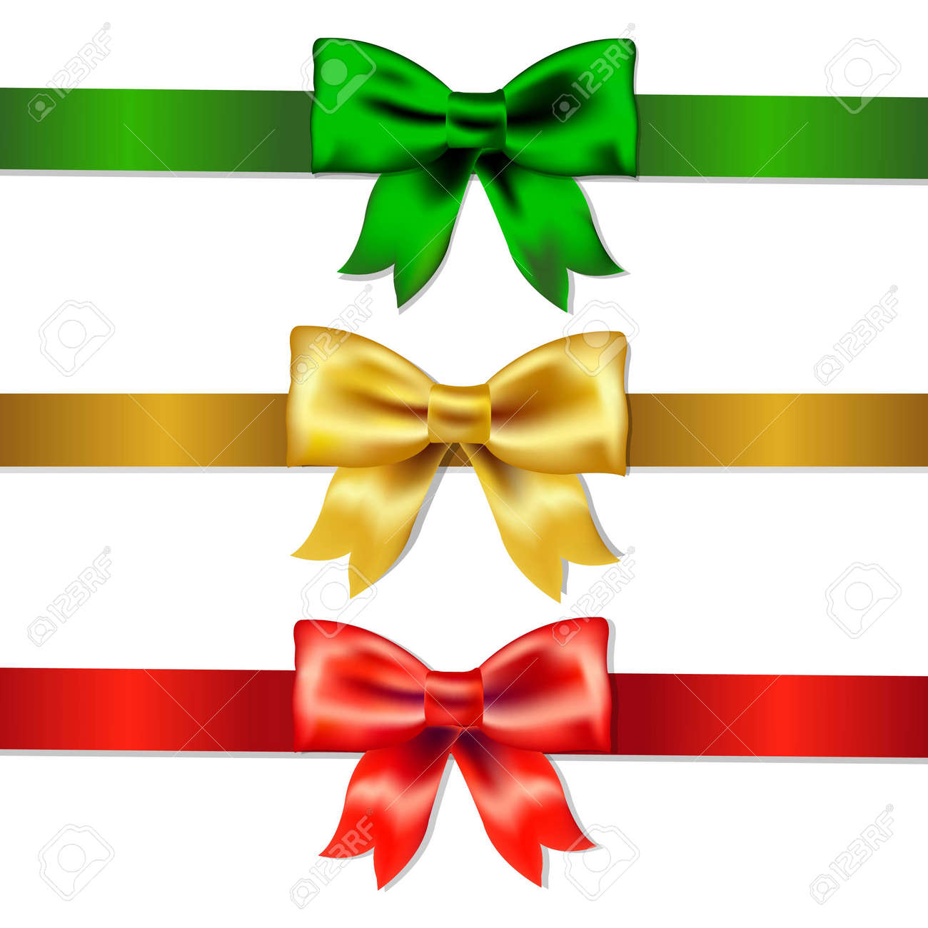 Set Of Color Bows, With Gradient Mesh, Vector Illustration - 24381119