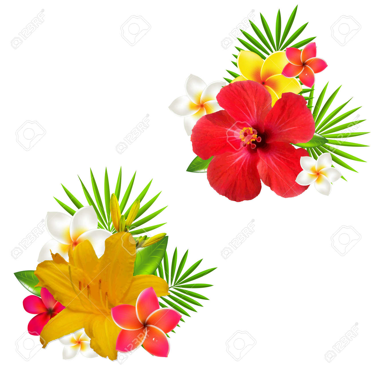 Flowers Set, With Gradient Mesh, Vector Illustration - 30220738