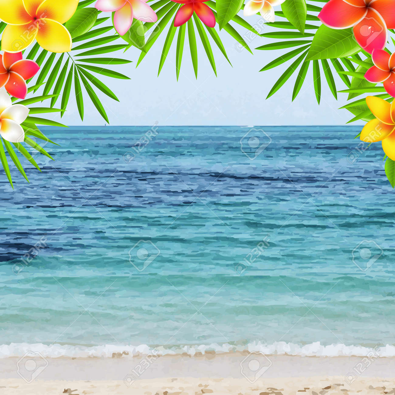 Happy Summer Time Poster With Frangipani, With Gradient Mesh, Illustration - 31848380