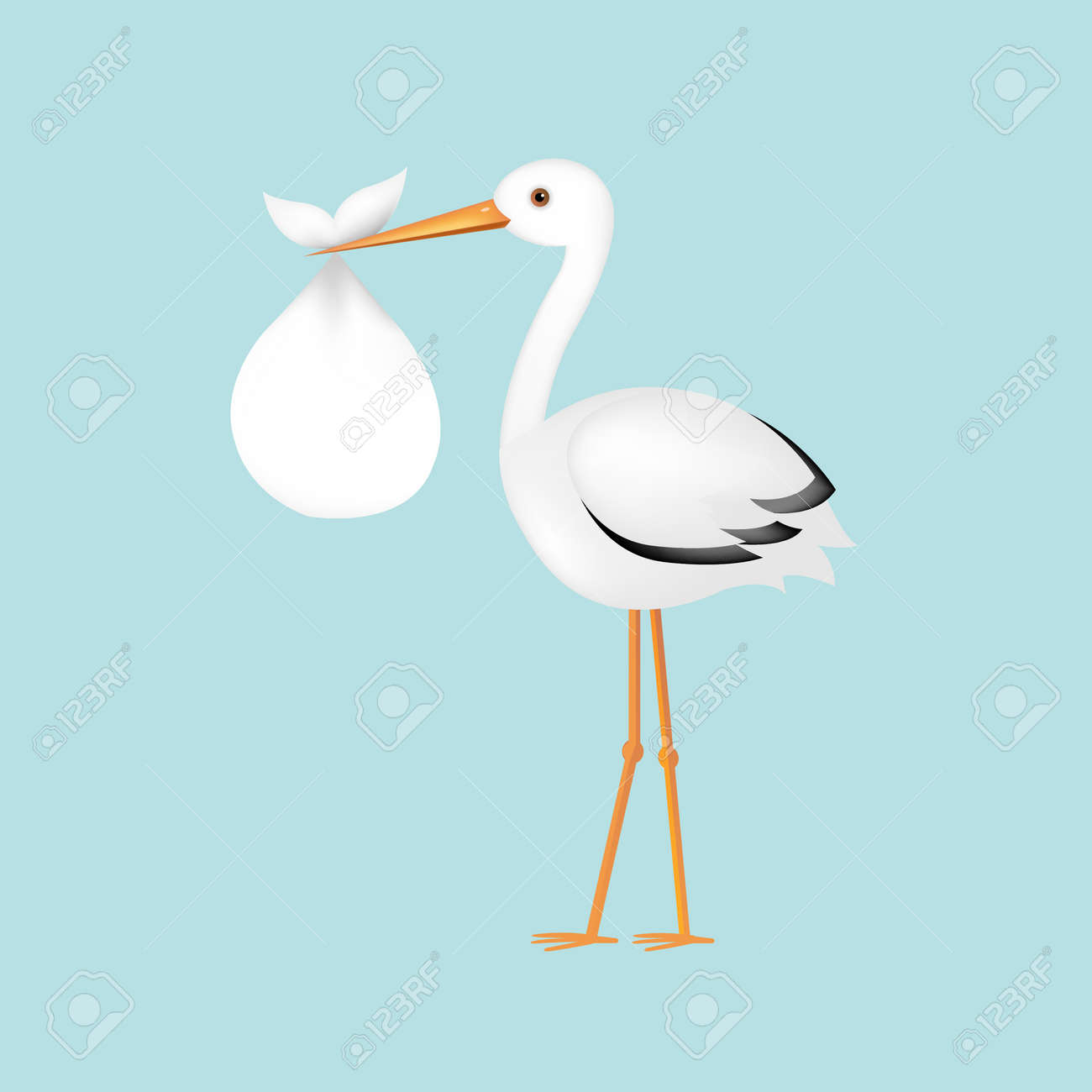 Stork With Baby With Gradient Mesh, Vector Illustration - 34381350