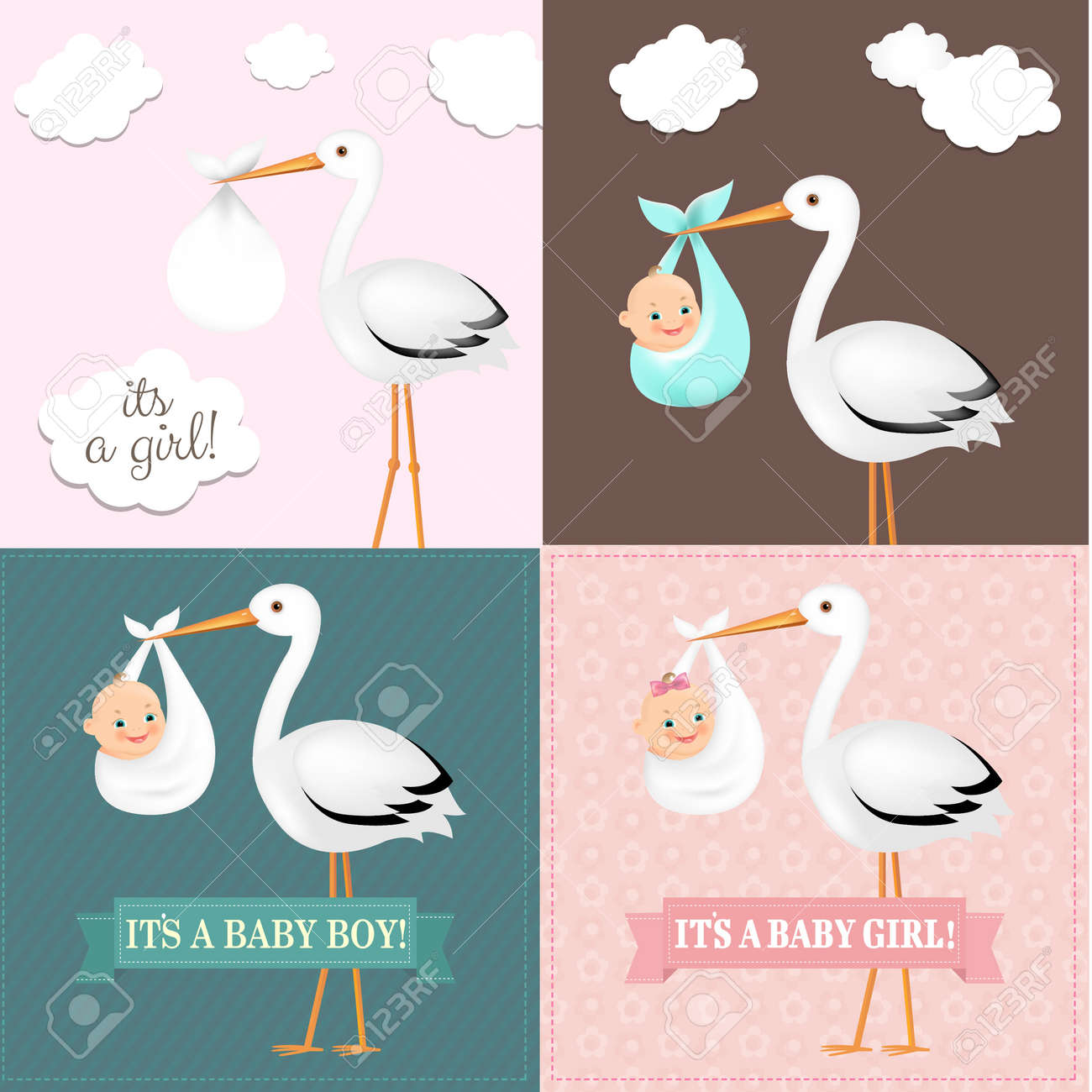 Stork With Baby Set With Gradient Mesh, Vector Illustration - 36410549