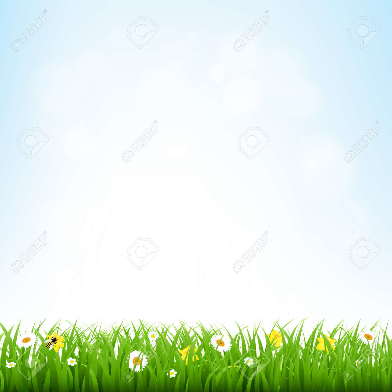 Nature Background With Grass Border With Gradient Mesh, Vector Illustration - 36978520