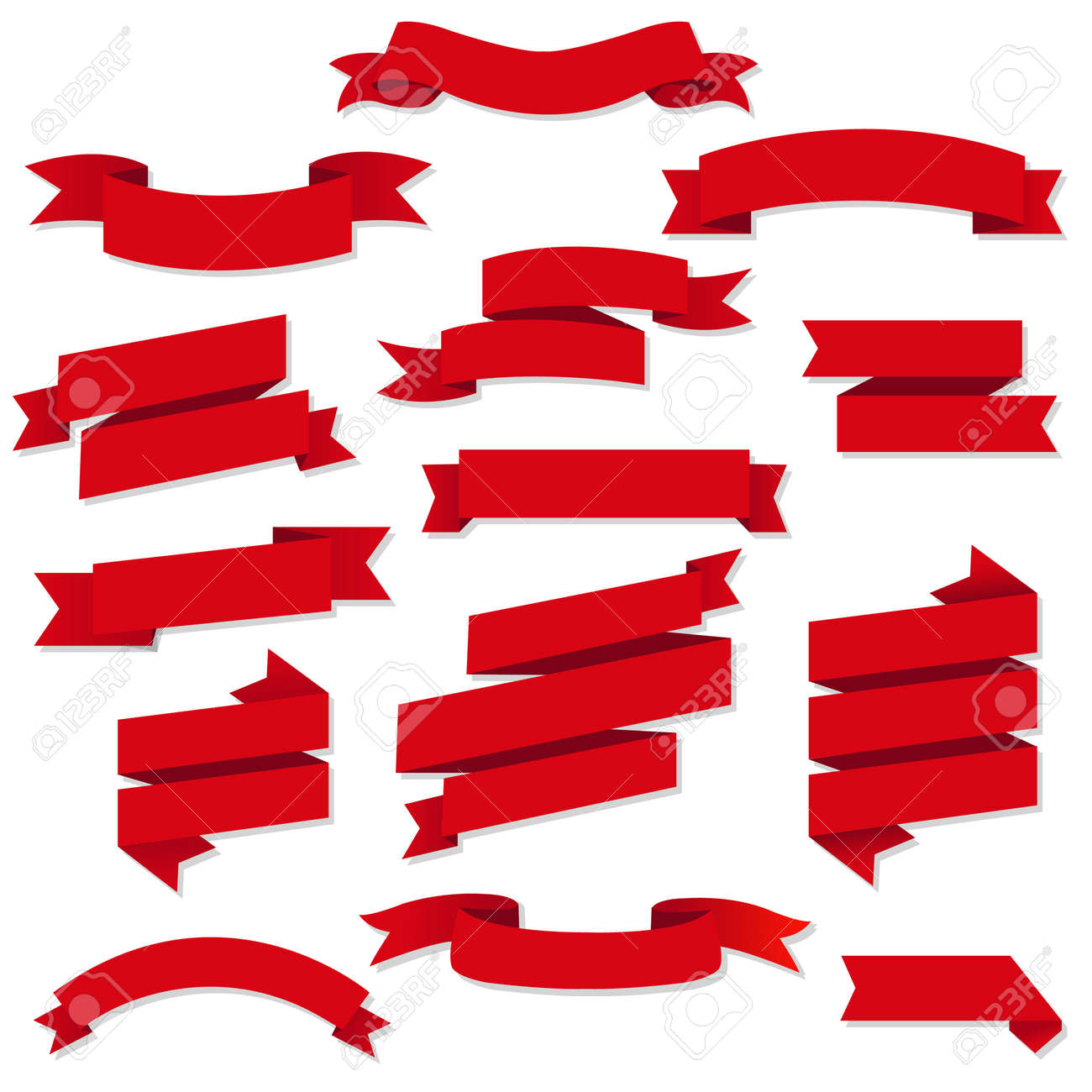 Red Web Ribbons Set, Vector Illustration - 39321988
