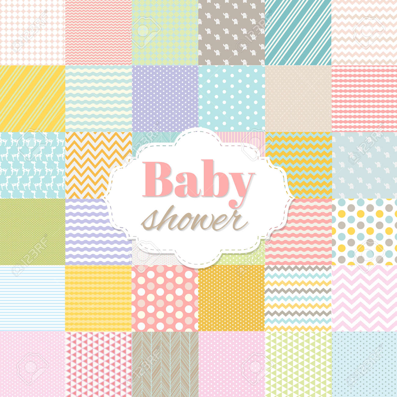 Baby Shower Poster With Gradient Mesh, Vector Illustration - 44688731