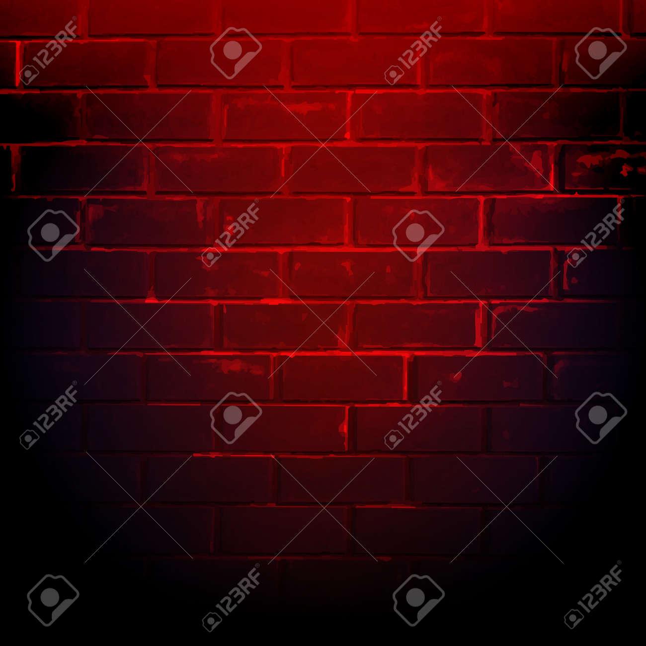 Dark Red Brick Wall With Gradient Mesh, Vector Illustration - 44688730