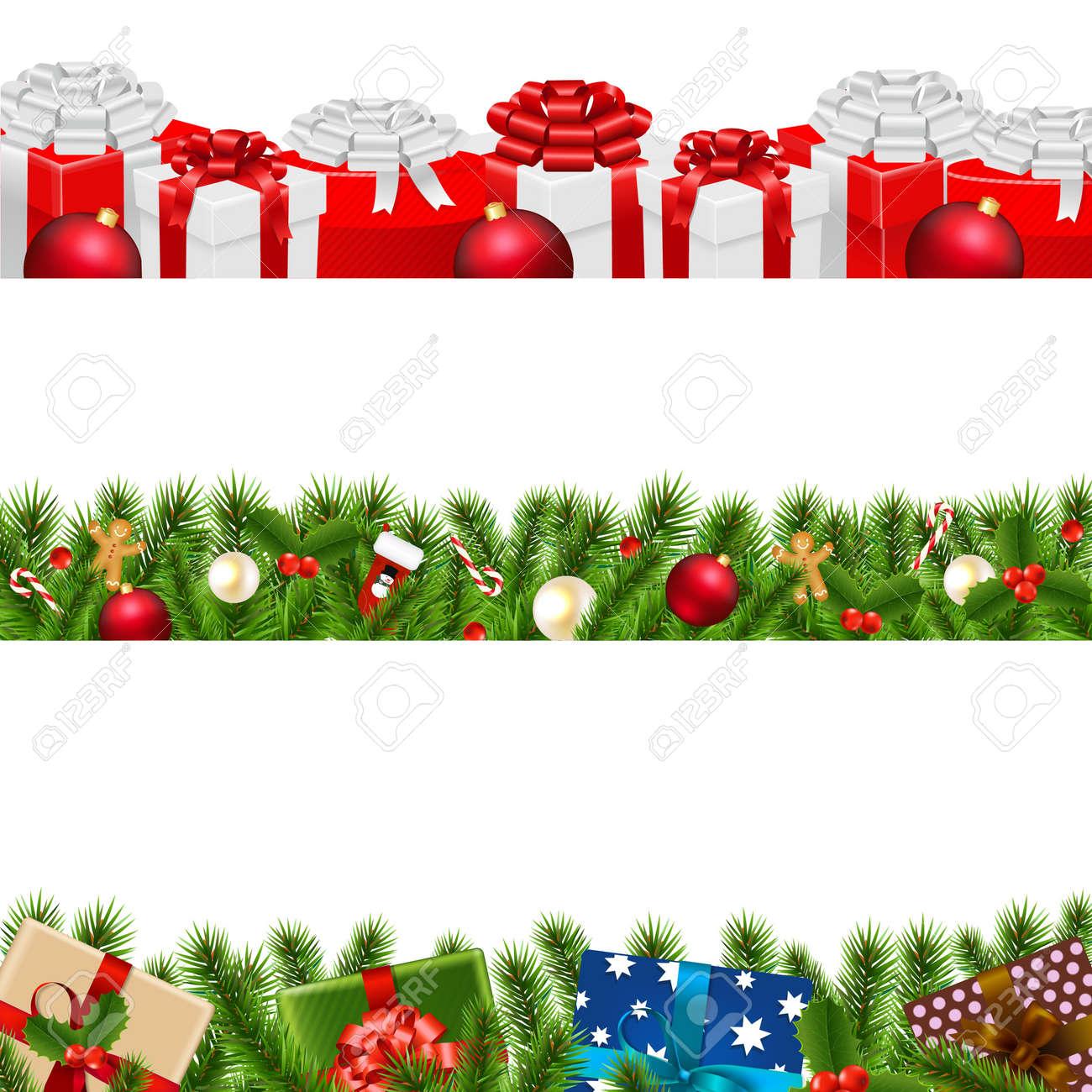 Christmas Borders Big Set With Gradient Mesh, Vector Illustration - 48542475
