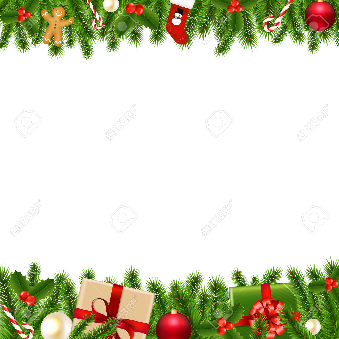 Merry Christmas Borders With Gradient Mesh, Vector Illustration ...