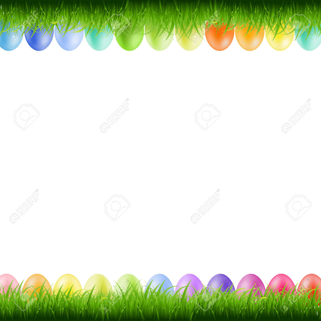 Grass Borders With Easter Eggs With Gradient Mesh, Vector ...