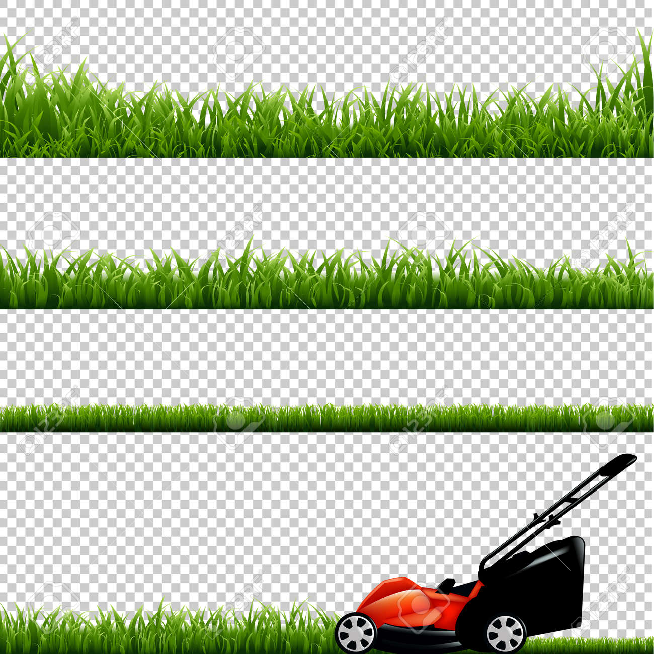Lawnmower With Green Grass, Isolated on Transparent Background, With Gradient Mesh, Vector Illustration - 56875700