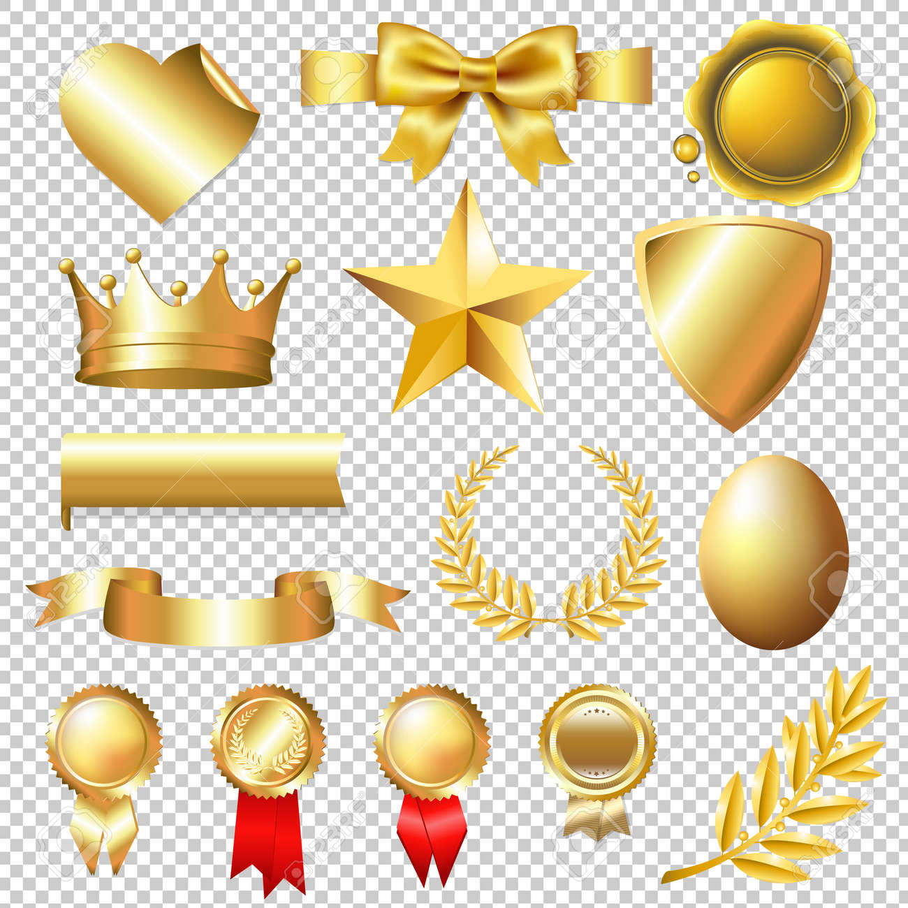 Golden Collection, Isolated on Transparent Background, With Gradient Mesh, Vector Illustration - 56871598