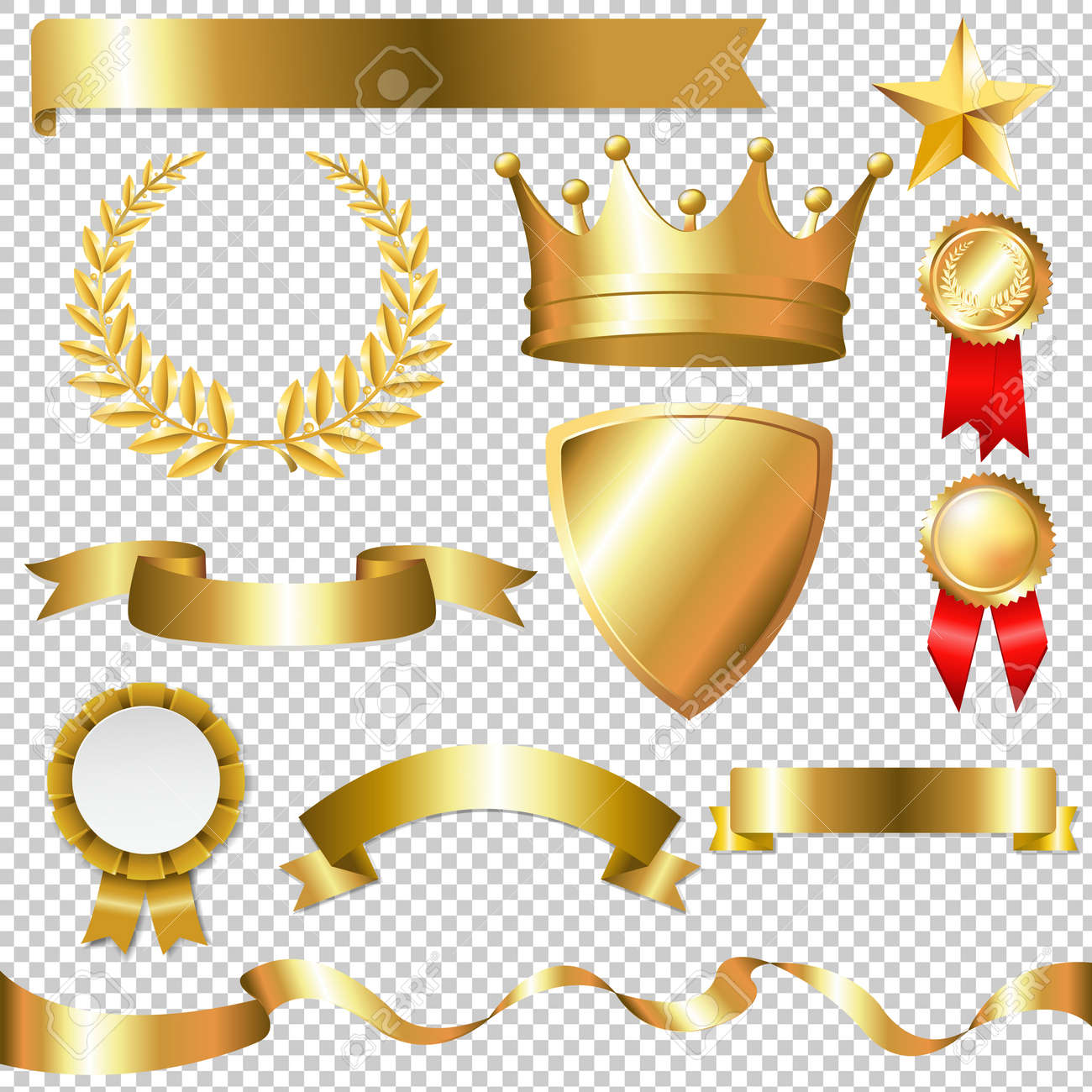 Golden Collection Isolated, Isolated on Transparent Background, With Gradient Mesh, Vector Illustration - 56871445