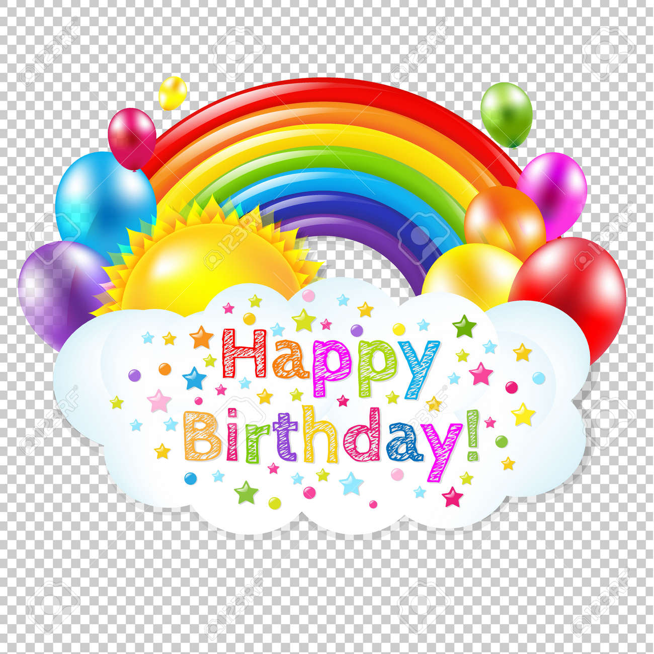 Happy Birthday Banner Banner With Rainbow Isolated, Isolated on Transparent Background, With Gradient Mesh, Vector Illustration - 57247690