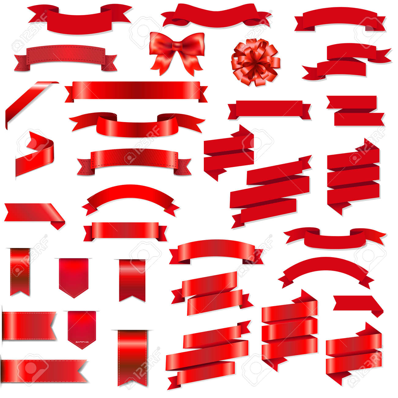 Red Ribbons And Bow Set With Gradient Mesh, Vector Illustration - 57247564