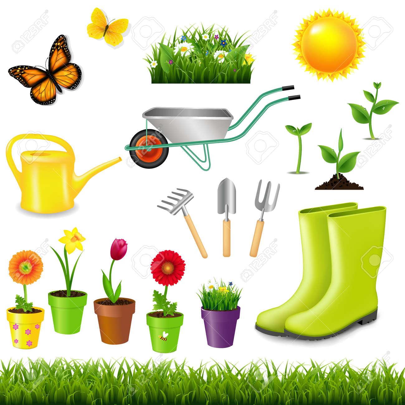 Les Outils De Jardinage Avec Photos outils de jardinage avec filet de dégradé, illustration vectorielle