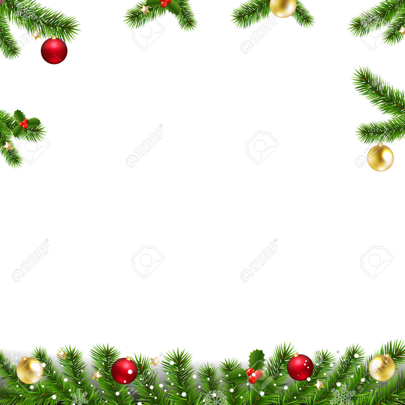 Xmas Garlands With Fir Tree And Christmas Toys With Gradient Mesh, Vector Illustration - 126893689