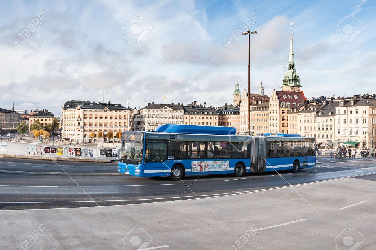 STOCKHOLM, SWEDEN - OCTOBER 26:the passenger bus goes down the