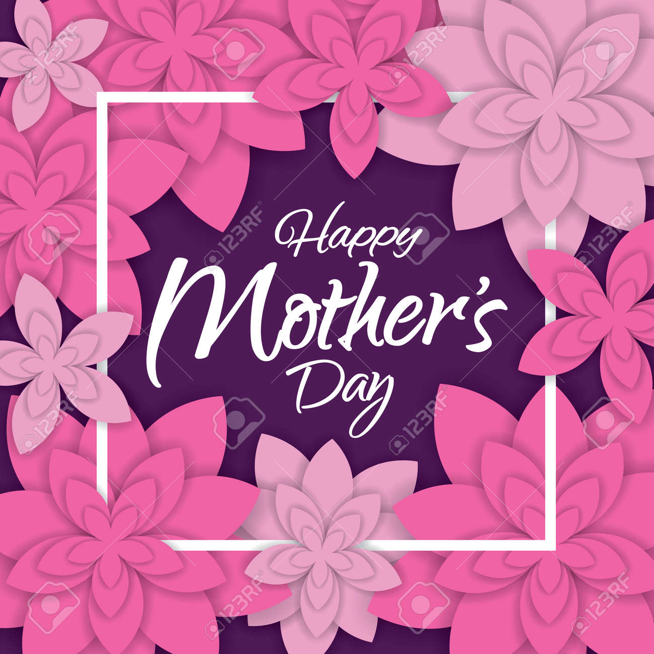 Happy Motheru0027s Day Layout Design With Flowers. Vector Illustration. Happy  Mothers Day Cute Feminine