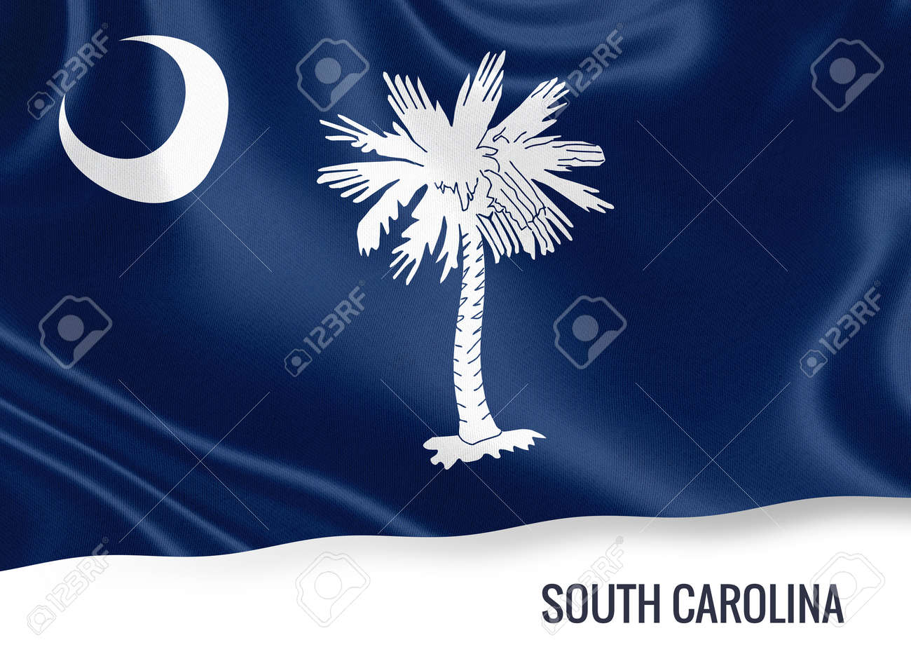 Us State South Carolina Flag Waving Isolated On White State