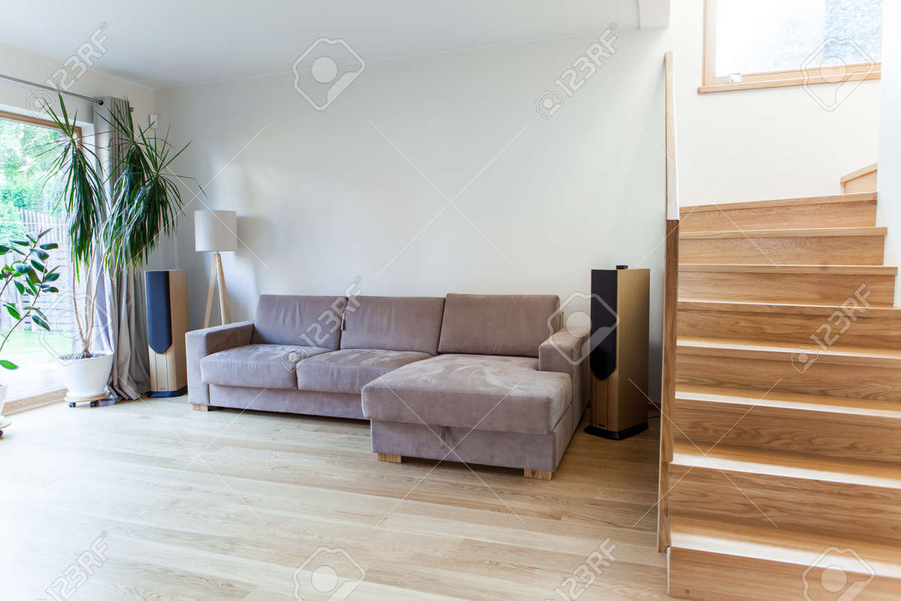 Inside Of A Modern House With Minimal Furniture Stock Photo