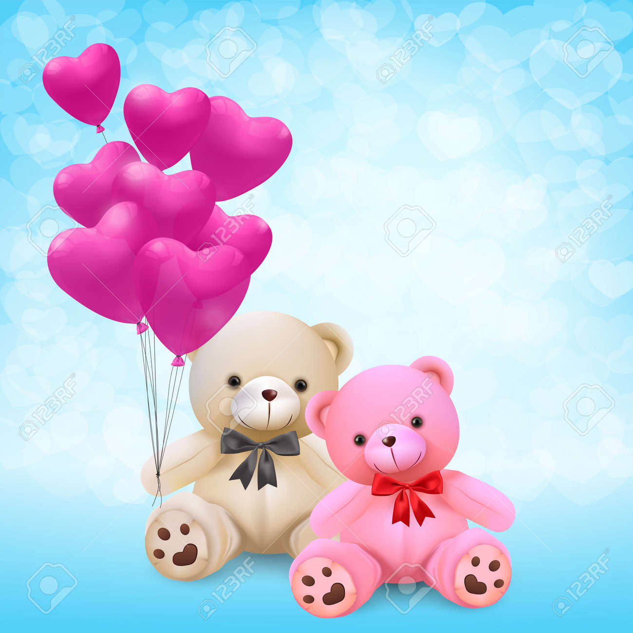 Cute teddy bear holding pink heart balloons - vector and illustration. - 93216680