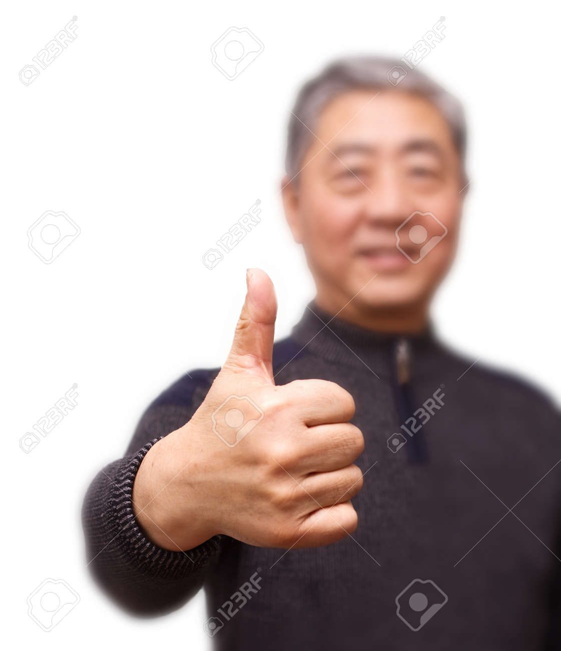Closeup isolation photo of senior Chinese man showing ok and good with fingers Stock Photo - 17241934
