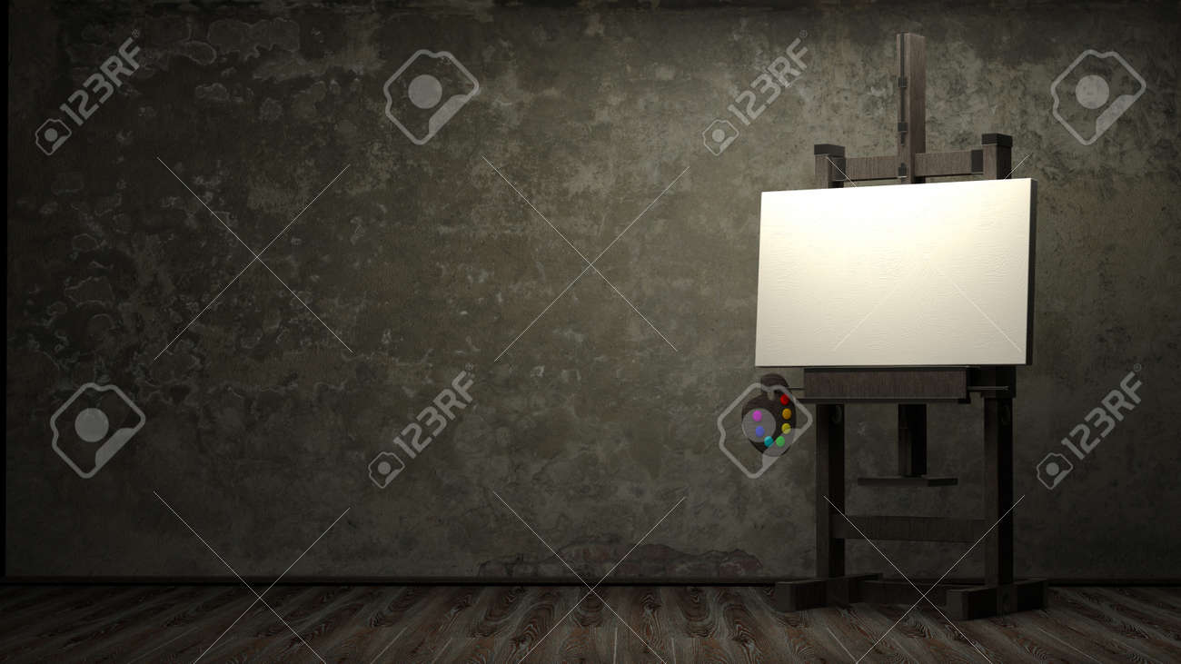 Empty white canvas for artist on wooden easel in dark room 3d Stock Photo - 12092134